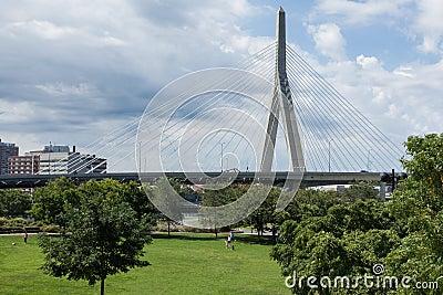 Zakim bridge from Paul Revere park in Boston