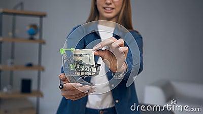 Zakończenie w górę strzału młoda kobieta wręcza mienie wózek na zakupy z pieniądze zdjęcie wideo