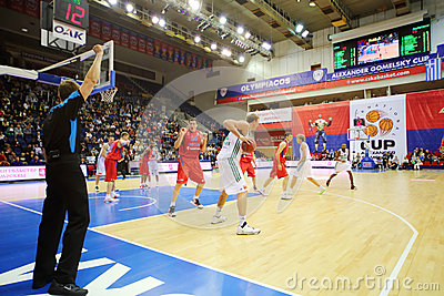 Zalgiris and CSKA Moscow teams play basketball Editorial Image