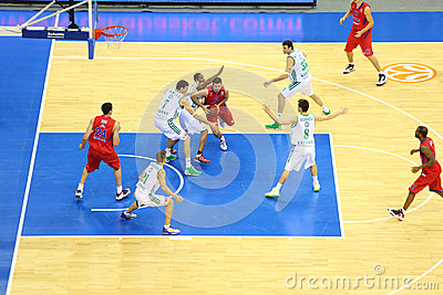 Zalgiris and CSKA Moscow teams play basketball Editorial Stock Photo