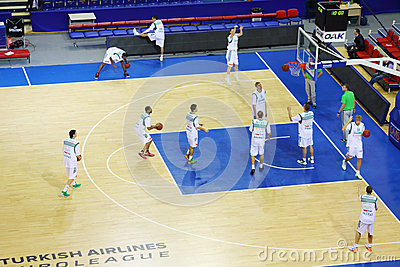 Zalgiris team (Lithuania) trains before match Editorial Photography
