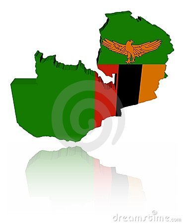 Zambia map flag with reflection