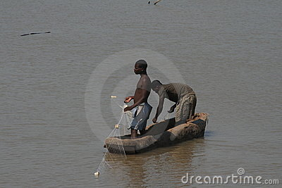 Zambian fishermen in a boat Editorial Stock Image