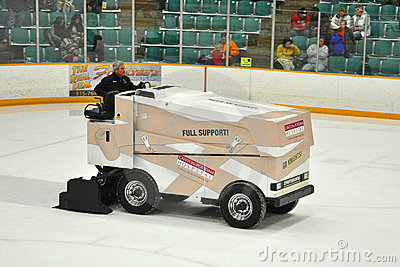 Zamboni in NCAA Hockey Game Editorial Photo