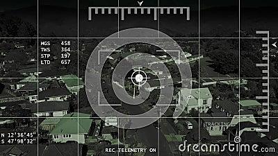 Zangão/helicóptero/UAV que segue a metragem da antena da vizinhança 4k da busca filme