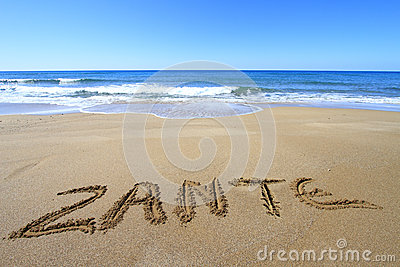 Zante written on the beach
