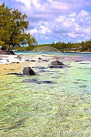 the zanzibar beach sand isle sky and rock Stock Photo