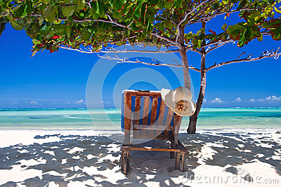 Zanzibar tropical and beach chair at the beach