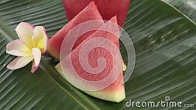 Zazębiony arbuza potrząśnięcie słuzyć w szkle odświeżający lato owoc napój zdjęcie wideo