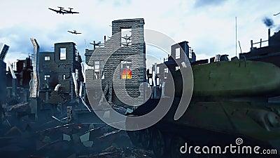 Zbiornik wojskowy stoi na ruinach, a Armada wojskowego samolotu leci nad ruinami zniszczonych pustyń ilustracja wektor