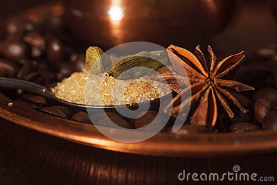 Zbliżenie kardamonów strąków, anyżowego i brown cukier w teaspoon,