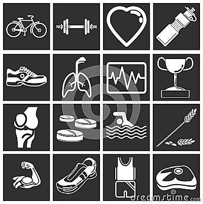 Zdrowie fizyczne fitness ikony