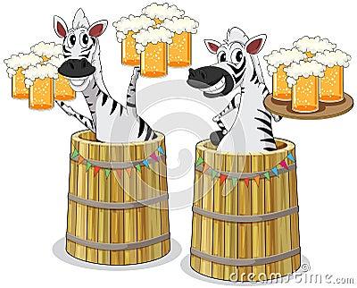Zebra com frasco da cerveja