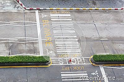 Zebra crossing, on urban asphalt road for passenger or people an Stock Photo