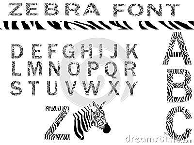Zebra font vector