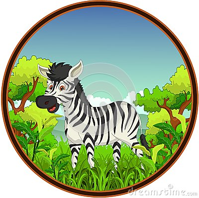 Zebra with forest background