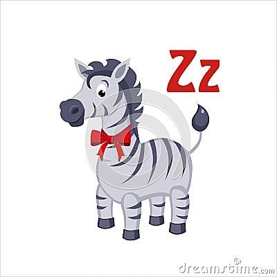 Free Zebra. Funny Alphabet, Animal Vector Illustration Royalty Free Stock Photo - 65709245