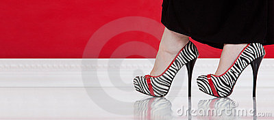 Zebra high-heeled shoes