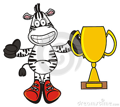 Free Zebra Holding A Golg Cup Royalty Free Stock Image - 69629986