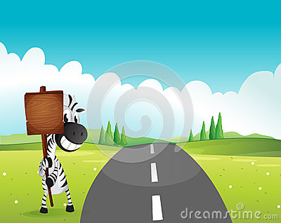 A zebra holding an empty wooden signboard along the road