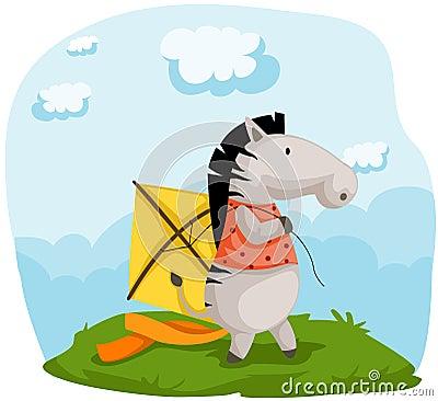 Zebra with kite