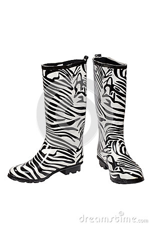 Zebra pattern rubber boots