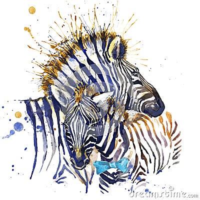 Free Zebra T-shirt Graphics. Zebra Illustration With Splash Watercolor Textured Background. Unusual Illustration Watercolor Zebra Royalty Free Stock Image - 56387956