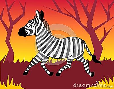 Zebra in wood