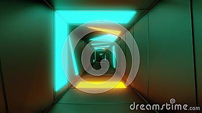 Zeer abstracte corridor van de ontwerptunnel met gloeiende lichtpatronen 3d illustratie levende achtergrond de motieachtergrond v royalty-vrije illustratie