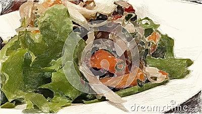 Zeichnende Farbe der leckeren Nahrung stock video