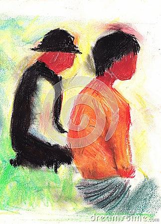 Zeichnung der Personen.