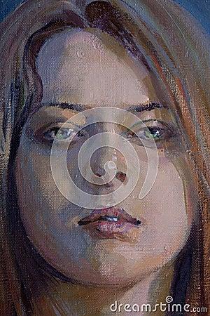 Zeichnung des jungen melancholischen Mädchens