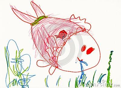 Zeichnung des Kindes auf Papier. Fische essen eine Endlosschraube