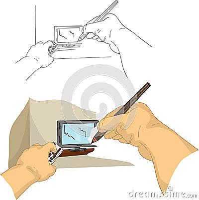 Zeichnung Fernsehapparat