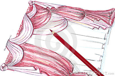 Zeichnungen des Drapierung