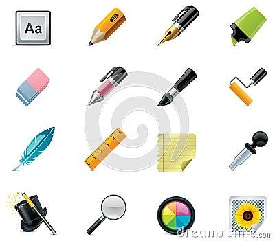 Zeichnungs- und Schreibenshilfsmittelikonenset