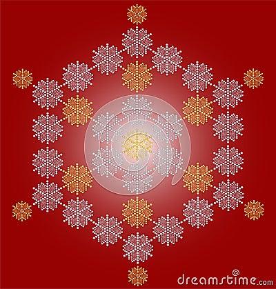 Zeitgenössische Schneeflockenweihnachtskarte