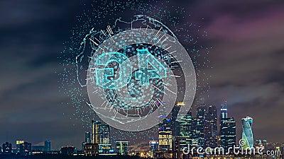 Zeitraffer der Abendstädte mit futuristischen Elementen der Telekommunikation, Konzept der intelligenten Stadt, Kommunikation stock video