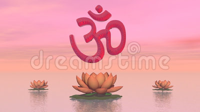 Zen aum - 3D render. Red aum upon three beautiful lily flowers by colorful sunset sky stock illustration