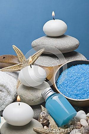 Zen balance and blue spa.