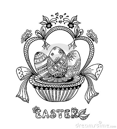 Free Zen-doodle Easter Eggs In Basket Black On White Stock Photos - 65270433