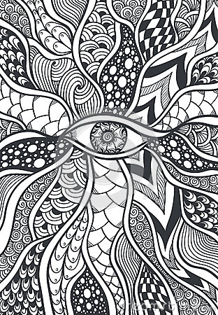 Zen Doodle Or Zen Tangle Texture Or Pattern With Eye Black