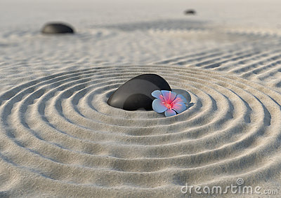 Zen garden and flower