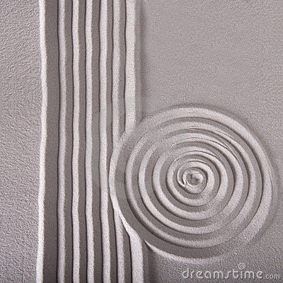 Zen garden lines and circle ripple pattern