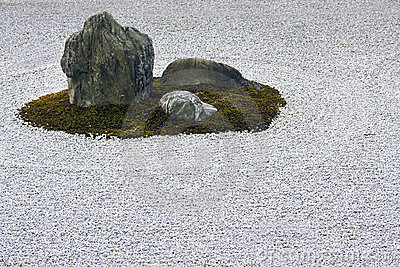 Zen garden raked gravel circle and rock feature.