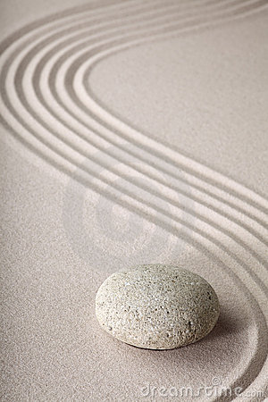 Zen garden stone and sand pattern tranquil relax