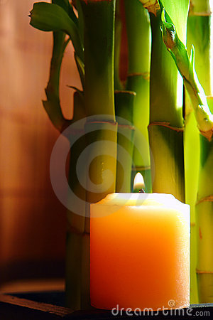 Zen Meditation Candle Burning with Bamboo Stems