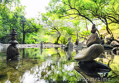 Zen meditation landscape. Calm and spiritual nature environment.