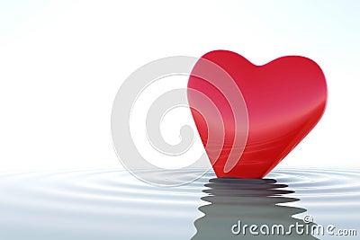 Zen red heart on calm water