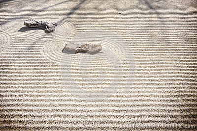 Zen Rock Garden - Sand Patterns Stock Photo - Image: 51423008
